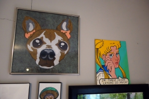 The left one is more of a felted illustration of my dog by a friend Dawn Wailey from Portland, Oregon and the one of the right is by local friend John Fuller